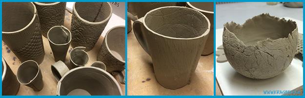 Første forsøg på at lave keramik. Små vaser, et krus og skåle.