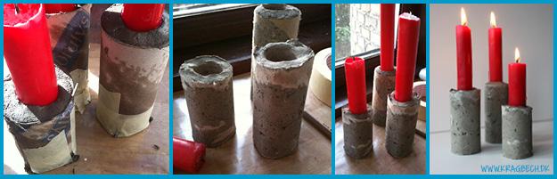 Lysestager lavet af flisemørtel