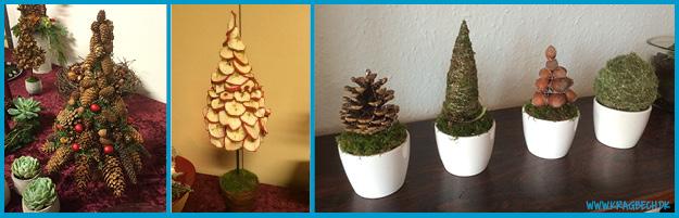 Dekorations-juletræer. De 4 små potter med abstraktioner over juletræer er nogle jeg selv laver hvert år til jul.